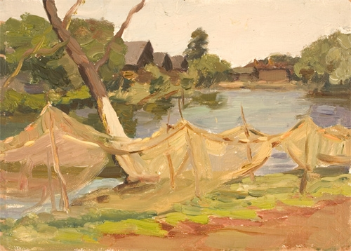 В.Б. Скуридин «На Трубеже» Картон, масло. 1956 г.