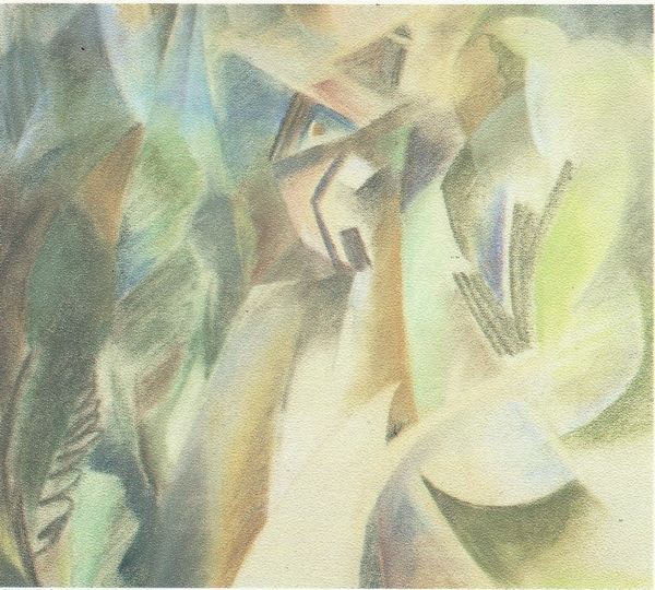 Павел Шербаум.  Розовый дом. 1992 г. Бумага, пастель.