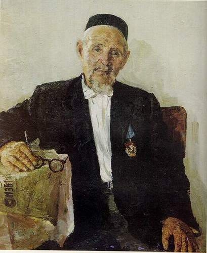 Искандер Валиуллович Рафиков. Портрет участника революции 1905 года С. Хуснутдинова. Xолст, масло. 1956 г.