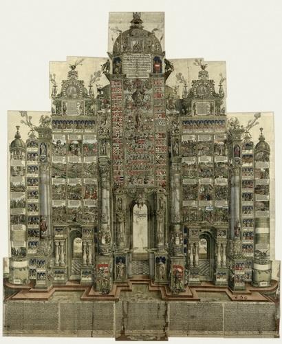 Ксилография Дюрера «Триумфальная арка», созданная в 1515 году в честь императора Максимилиана I. Самая монументальная ксилография в истории площадью 10 квадратных метров.