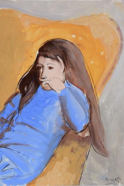 Дж. Манцу «Джулия в кресле»  1972 г. Картон, гуашь.  71 x 51 см  Galleria d'Arte Maggiore, Болонья, Италия