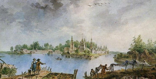 Жан Балтазар де ла Траверс  «Нилова пустынь на озере Селигер»  1786 г.