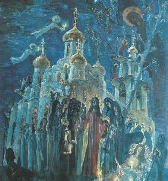 А.В. Зверев. Вечерняя молитва. Холст, масло. 130х120 см. 1997 г.