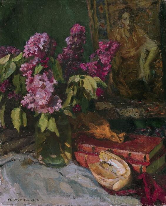 В.Б. Скуридин «Натюрморт по мотивам Врубеля» Холст, масло. 1957 г.