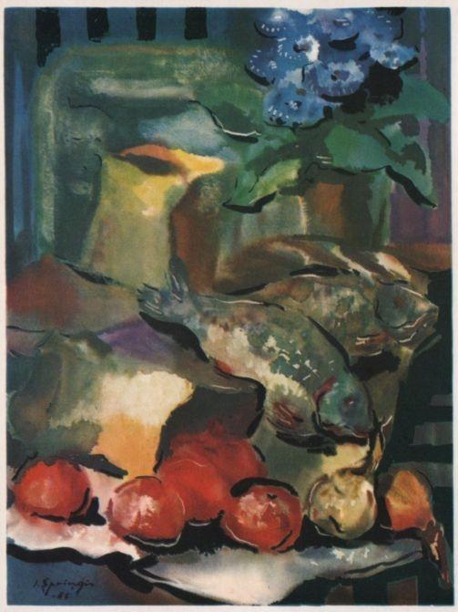 Е. Спрингис. Томаты и рыба. Акварель. 1965 г.