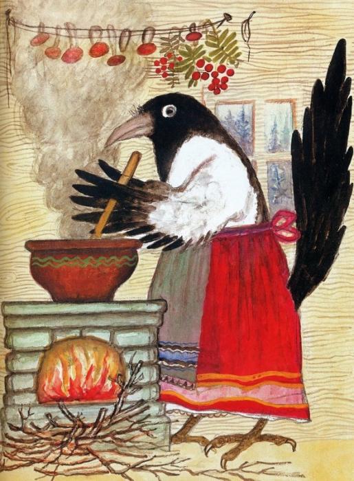 Ю. Васнецов. Иллюстрация к книге «Сорока-белобока». Акварель. 1957 г.