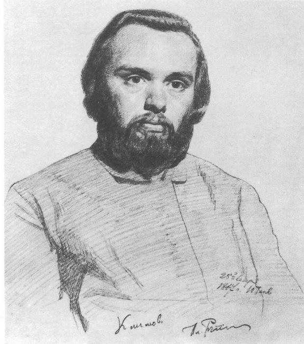 И.Е. Р е пи н. Портрет Климова. Карандаш. 1867 г.