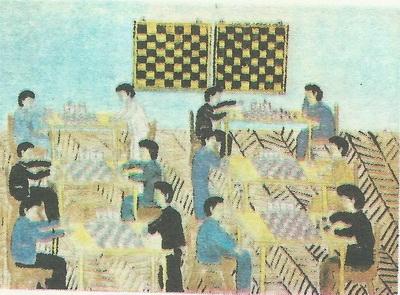 Эльшан Досиев, 14 лет. Шахматный клуб. Акварель.