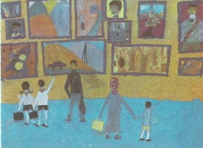 Элгуджа Мгалоблишвили, 9 лет. В картинной галерее. Гуашь.