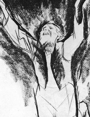 А. Зыков «Господи, боженька, али я хуже других!» Иллюстрация к повести М. Горького «Детство» Бумага, карандаш. 1966-1969 гг.