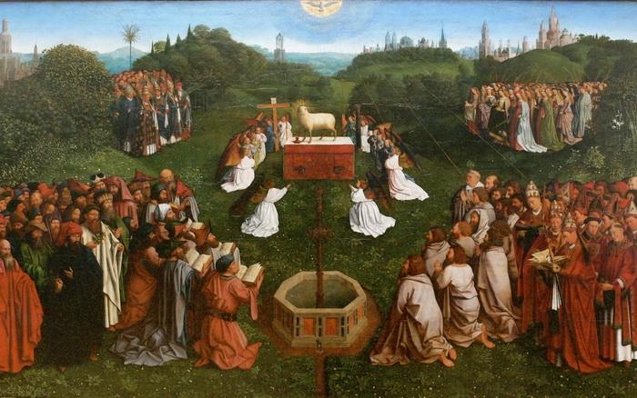 «Поклонение агнцу» Фрагмент Гентского алтаря.