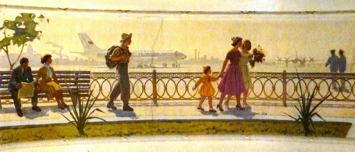 Роспись в ДК им. В.И. Ленина «Аэропорт» (левая часть).