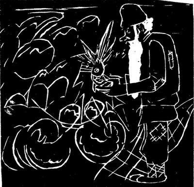 Андрей Попов, 12 лет. Иллюстрация к «Сказке о рыбаке и рыбке». Линогравюра. СШ № 50, Рязань.