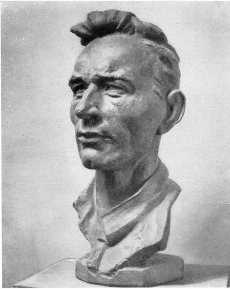 Е. Захаров. Портрет Игнатушина — комбайнера Сталинградской области. Бронза. 1954 г.