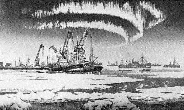В. Мешков. Северный порт. Цветная линогравюра. 1962 г.