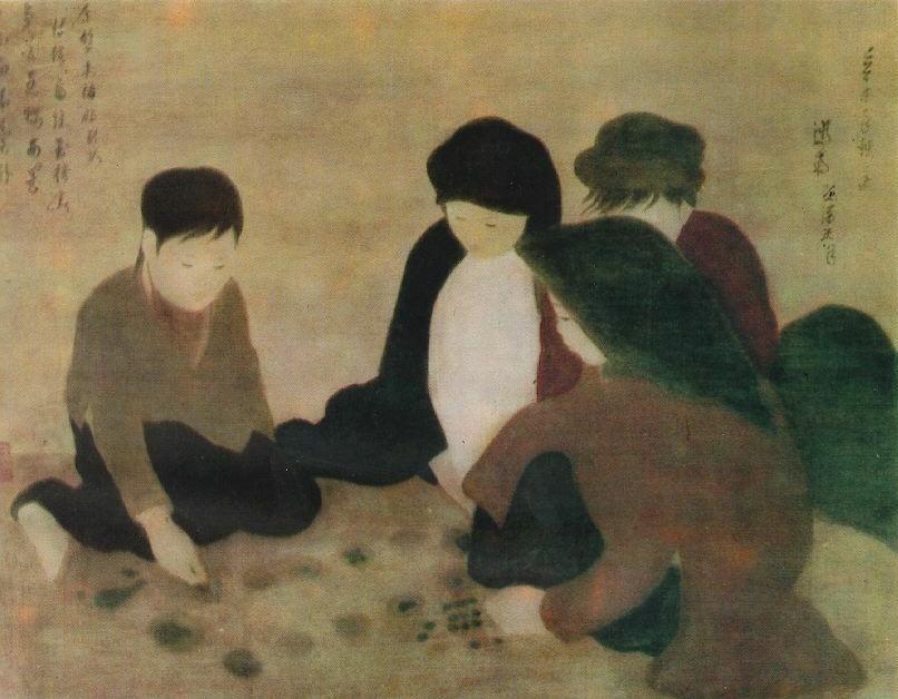 Нгуен Фан Тянь. «Детская игра». Шёлк, акварель. 1931–32. Музей искусства народов Востока (Москва)