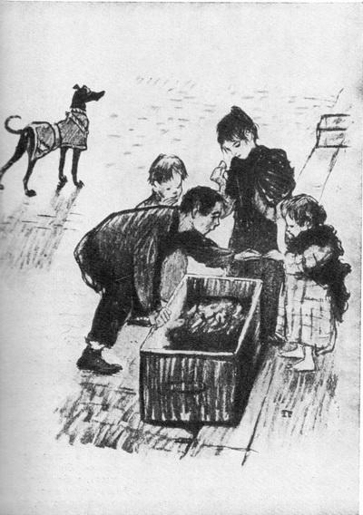 Стейнлен. У мусорного ящика. Литография. 1894 г.