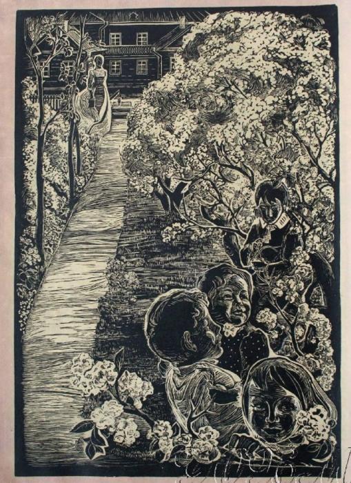 Е.А. Богомолова. В саду. Линогравюра из серии «Семья Ульяновых». 1967 г.