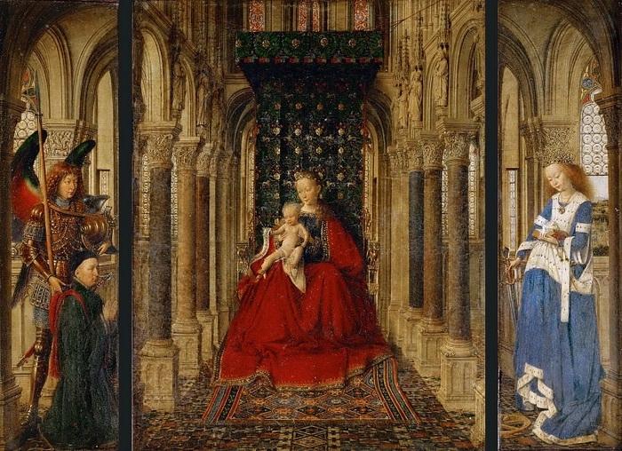 Ян ван Эйк. Дрезденский триптих. 1437 г. Галерея старых мастеров, Дрезден.