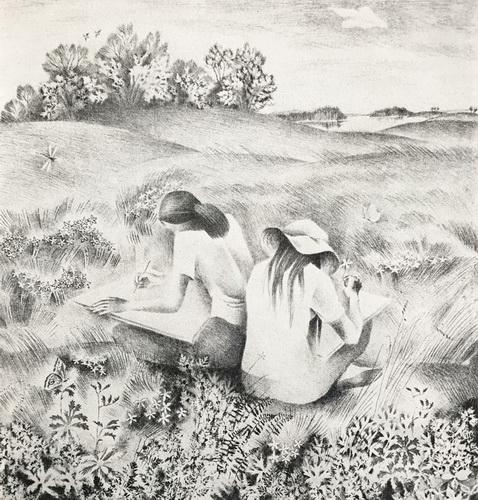 Рахлеева М.А. «На этюдах» Из серии «Лето»  1976 г.