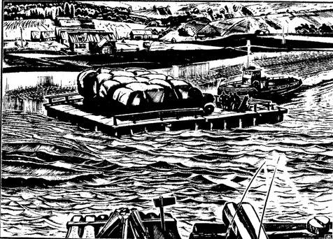 А. Колчанов. Паром. 1981г. Ксилография.