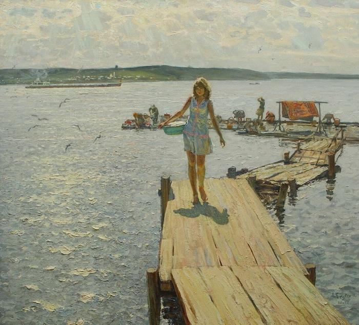 А.П. Белых «Летом на Волге» Холст, масло.