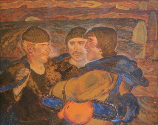 Юрий Павлович Якубовский. Парни с Ангары. Оргалит, масло. 122х150 см. 1977 г.