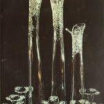 Художник Е. С. Шувалов Декоративная композиция «Русское поле» Хрусталь, гутная работа, матовая гравировка. 1972 г.