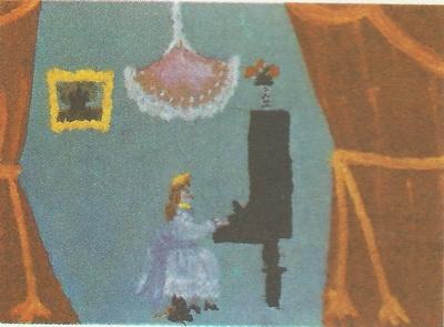 Манана Джаниашвили, 6 лет. Пианистка. Гуашь.