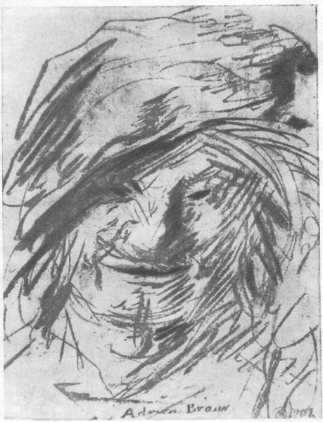 А. Б р о у в е р. Смеющийся мужчина. Карандаш. 1902 г.