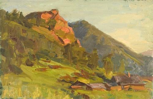В.Б. Скуридин «Вечер в горах» Картон, масло. 1976 г.