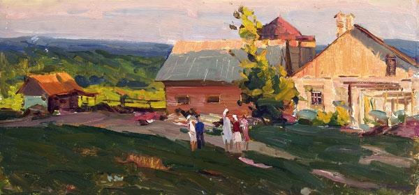 А.И. Яблоков «Колхозная ферма» Картон, масло. 33х62,5 см. 1959 г.