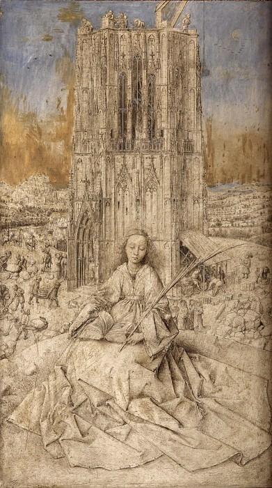 Ян ван Эйк. Святая Варвара. 1437 г. 32х18 см  Королевский музей изящных искусств, Антверпен.