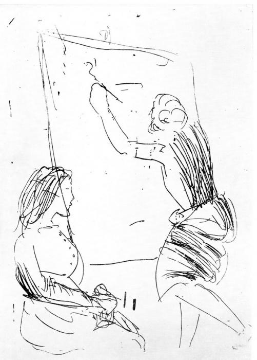 Дж. Манцу «Художник и модель» 1962 г. Офорт.