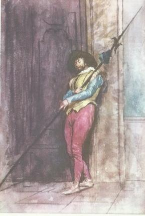 М. Фортуни. Страж у дверей палаццо. Акварель.