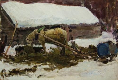 Владимир Гремитских «Серый у конюшни»  картон, масло; 48,5х69,5 см