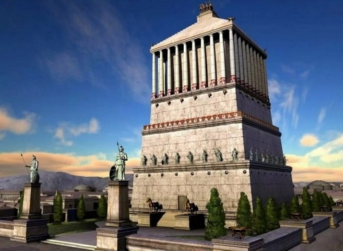 Реконструкция гробницы царя Мавсола в Галикаппасе (сегодня — Бодрум, Турция). От этого сооружения и пошло слово «мавзолей».