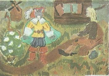 Лена Дмитриева. 12 лет. Кот в сапогах. Гуашь.