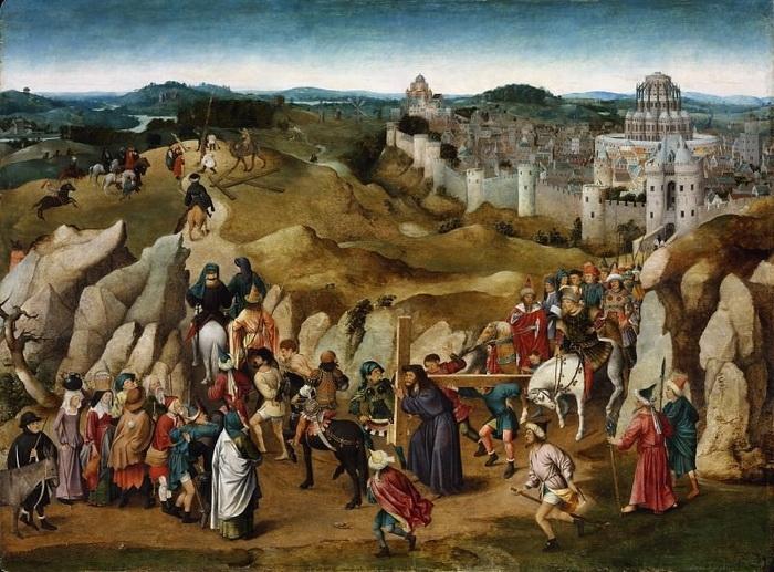 Ян ван Эйк. Путь на Голгофу (копия утраченного оригинала). 1505-15 гг. 97x130 см Музей изобразительных искусств, Будапешт.