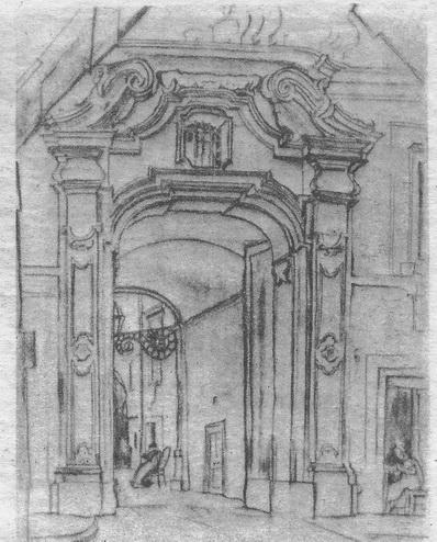 Рис. 3. Г. Гольц. Портал. Неаполь.  Уголь, тушь. 1924 г.