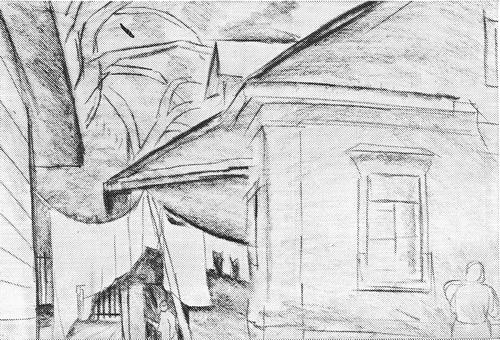 А. Зыков «Дом Кашириных на Канатной» из серии «На Волге» Бумага, карандаш. 1966 г.