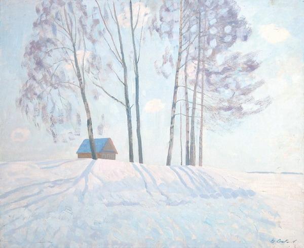 В. М. Сидоров «Начало весны» Оргалит, масло. 65х80 см. 1975 г.