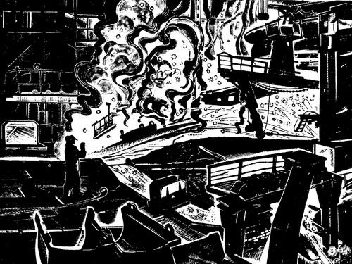 А. Колчанов. Поэма об огне. Из серии «Череповецкий металлургический». 1972 г. Ксилография.