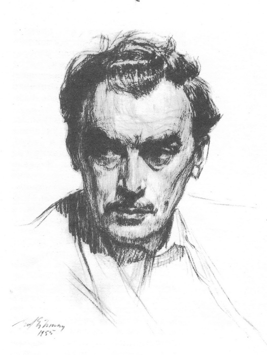 Э.Я. Эйнманн. Портрет художника В. Лойка. Карандаш. 1955 г.