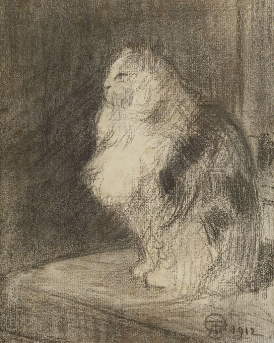 Стейнлен. Кот. 1912 г. Бумага, уголь. 20.5 x 17 см