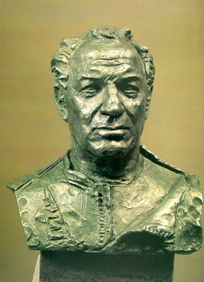 Портрет Героя Советского Союза, заслуженного лётчика-испытателя СССР К.К. Коккинаки. Алюминий. 68х47х33 см 1980 г.