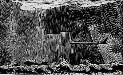 Леонид Остроушко. В трудный полёт. Линогравюра. 1963 г. (Репродукция из журнала «Художник» № 6, за 1964 г.)