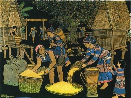 Су Ман, Хоань Ван Тхуан. Очистка риса. Гравировка по лаку. 1981 г. 67 X 48 см