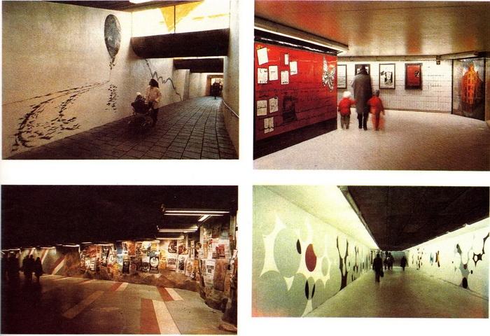 Стокгольм. Росписи в переходах метро. (Фотографии из журнала  «Декоративное искусство» № 6, 1991 г.)