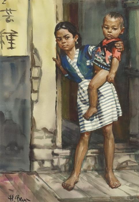 Величко Н.П. «Индийские дети» Бумага, акварель. 55,5х78,5 см